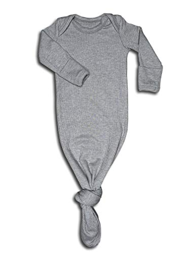 (Baby Gown Newborn, Knotted Infant Sleeper for Baby Girl and Boy in a Canvas Bag (Ribbed Grey, 0-3 Months) )