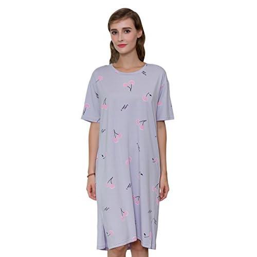 QianXiu Femmes Vêtements de nuit Vêtements de nuit confortables Chemise de nuit en coton tricoté Accueil Vêtements