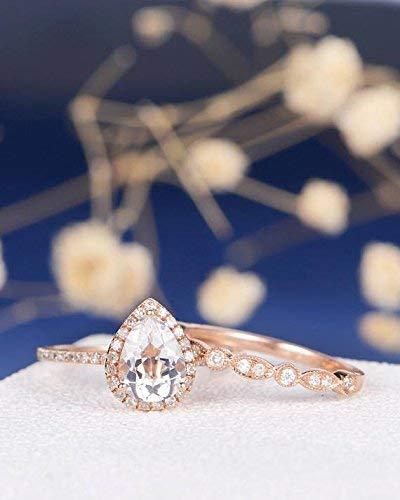 Amazon Com Pear Shaped White Topaz Engagement Ring Set 6x8mm