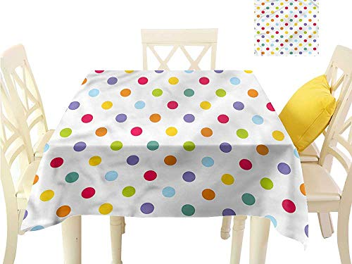 WilliamsDecor Square Tablecloth Kids,Pastel Colored Polka Dots Waterproof Table Cloth W 60