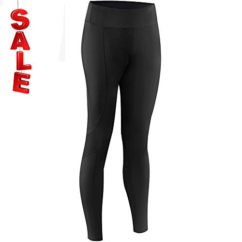 Drawstring Tights ((New Gear for Springs) Women's Cycling Tights Workout Legging Pants Running Pants (M, Jet Black))