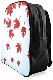 Colorful Red Vintage Maple Leaves Fashion Bookbag Work Backpack Bookbag For Girls Print Zipper Students Unisex Adult Teens Gift