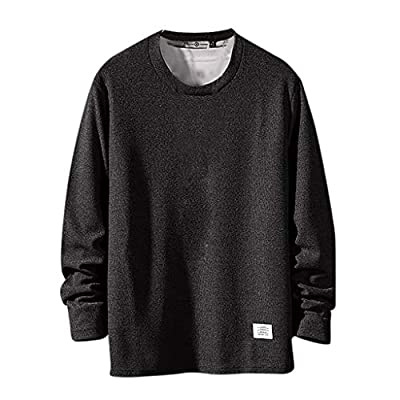 Sunhusing Men's Autumn New Casual Style Solid Color Round Neck Long Sleeve Short Pullover Sweatshirt T-Shirt