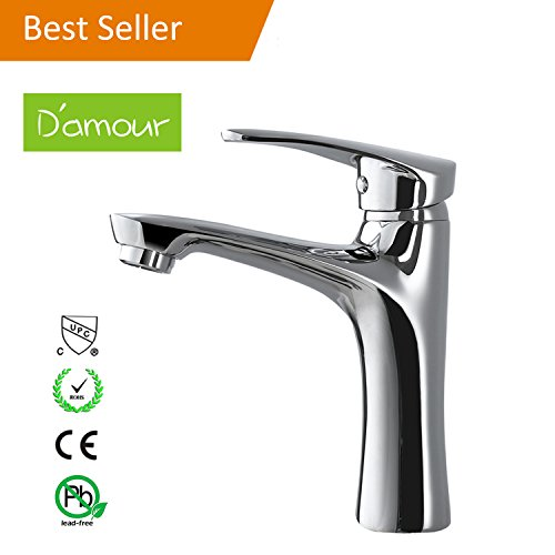D'amour Bathroom Faucet, Lavatory Single Handle Centerset Bathroom Sink Faucet, Hot and Cold Water Vanity Faucet, Chrome Finish - Waterfall Collection Single Handle
