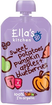 Ella's Kitchen - Stage 1 Baby Food - Sweet Potatoes, Pumpkin, Apples & Blueberries - 120g (Case of 7)