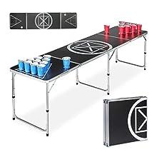 Relaxdays, Negro-Blanco, 70 x 241,5 x 60 cm Beer Pong Mesa Plegable, Juego de Beber, Aluminio-DM, Adultos Unisex