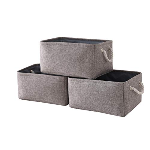 - TheWarmHome Foldable Storage Basket with Strong Cotton Rope Handle, Collapsible Storage Bins Set Works As Baby Storage, Toy Storage, Nursery Baskets (Grey, 3Pack-13.8L9.8W6.7H)