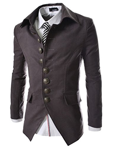 737 THELEES Mens Luxury UNIQUE Style Slim fit 8 Button Front Blazer Jacket CHARCOAL US L(Tag size (Steampunk Clothing Men)