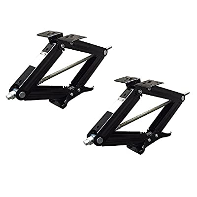 "Set of 2 5000 lb 24"" RV Trailer Stabilizer Leveling Scissor Jacks w/ handle"