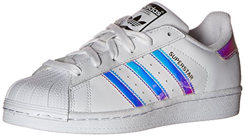 adidas Originals Kid's Superstar J Shoe, White/White/Metallic Silver, 4 M US Big Kid by adidas Originals (Image #9)