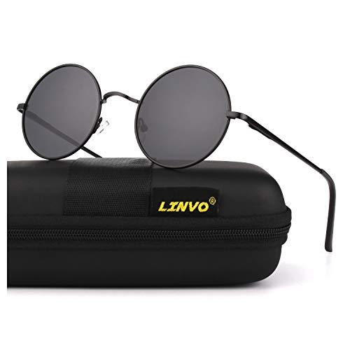 LINVO Retro Round Circle John Lennon Polarized Sunglasses Hippie for Men Women, L: Black Frame/Grey Lens
