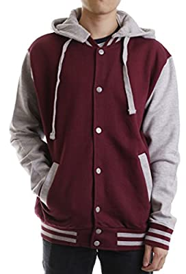 Paris Says Men's Classic Varsity Fleece Jacket with Detachable Hood