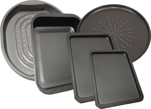-[ 5 Piece Prochef Large Non Stick Oven Tray Pizza Baking Crisper Roasting Tin Pans  ]-