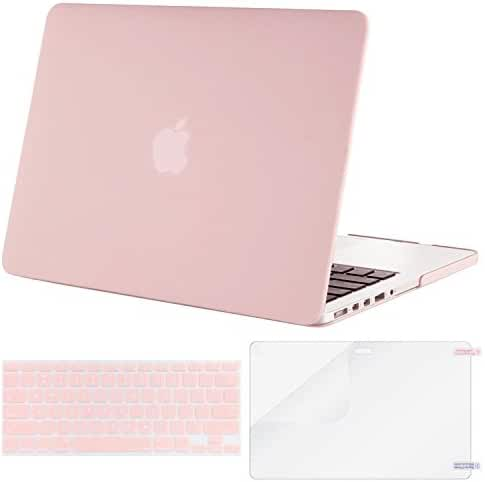 Mosiso Plastic Hard Case with Keyboard Cover with Screen Protector Only for MacBook Pro Retina 13 Inch No CD-ROM (A1502/A1425), Rose Quartz