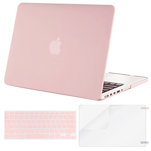 Mosiso Plastic Hard Case with Keyboard Cover with Screen Protector Only for MacBook Pro 13 Inch with Retina Display No CD-Rom (A1502/A1425, Version 2015/2014/2013/end 2012), Rose Quartz