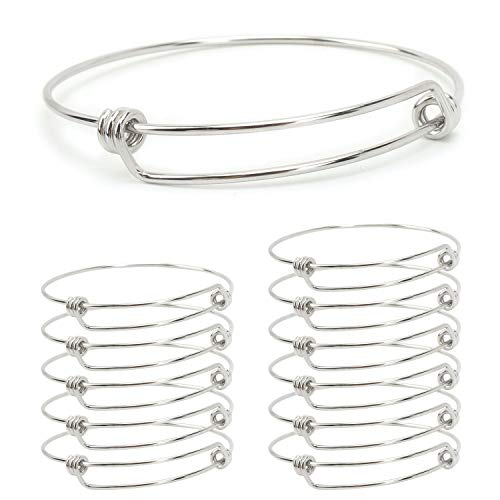 Wholesale Stainless Steel Bracelets - Wholesale 12 PCS Adjustable Expandable Wire Blank Stainless Steel Bangle Bracelet for Jewelry Making 2.6 inches