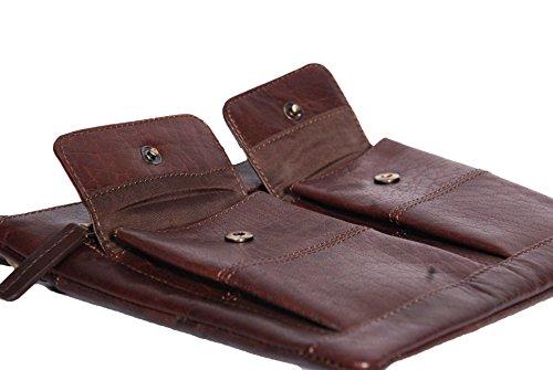 Borsa del Croce Corpo 'Turin' Choco Marrone Borse a Tracolla in Pelle del Donna 20x22x1cm