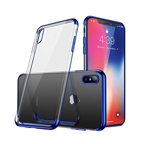 - iPhone X Case,Electroplated Frame Clear Cell Phone Case,Ultra Slim TPU Gel Case Compatible with iPhone X,5.8 inch(Blue)