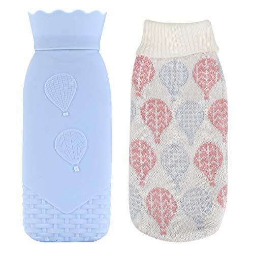 Wärmflasche, Terra Tu Kinder-Wärmebeutel mit Abnehmbarer, Weicher Strickhülle für Kinder Mädchen Frauen Mini-Reise-Wärmflaschen für Körper Hand Fußwärme Schmerz- und Schwellungslinderung (Blue)