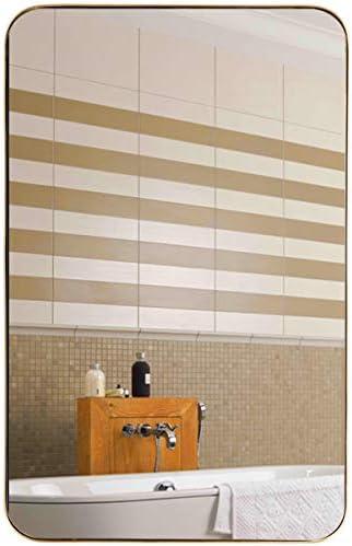 Tangkula 20×32 inch Bathroom Wall Mirror, Rectangular Wall Hanging Mirror, Vanity Mirror for Dressing Room Washroom Entryway, Modern Concise Wall Mounted Mirror Gold