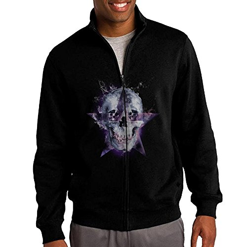 Jacob Men's Sweatshirt Cloudy Skull Full-zip Hoodie Jacket L Black
