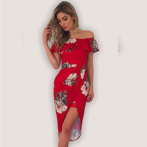 D'année longue Structurée Imprimé Overdose Bardot Dénudée Fin Fleur D'été Femmes Bal Mi Rouge À De Robe RobeSexy Épaules W9DY2HeEI
