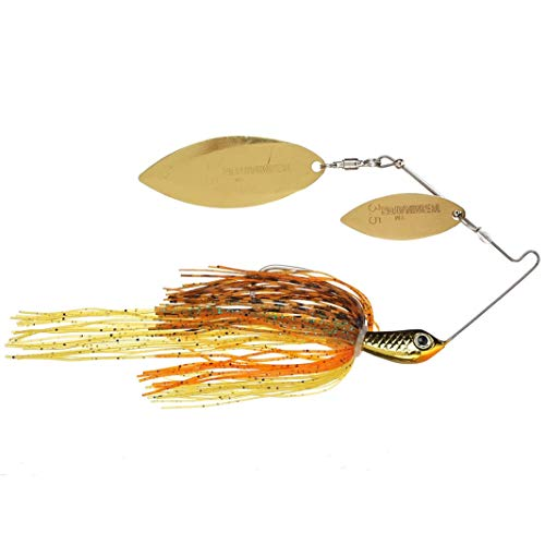 TERMINATOR Super Stainless Spinnerbait with Blades Willow/Willow in Gold/Gold, Pumpkin Seed, 1/2 - Jig Football Terminator