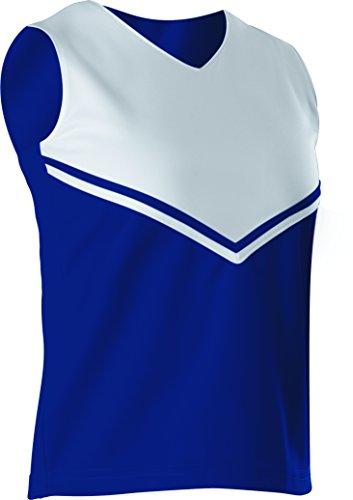 Alleson Women's Cheerleading V Shell Top Braid, Navy/White, Medium