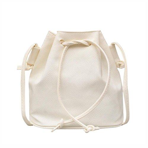Signature Drawstring Handbag - Sunyastor New Fashion Women Leather Pure Color Shoulder Bag Messenger Bag Purse Satchel Purse Bucket Bag Drawstring (White, one Size)