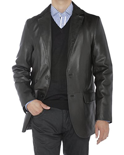 Luciano Natazzi Mens 2 Button Modern Fit Nappa Leather Blazer Center Vent Jacket (X-Large / US 44-46, Black)