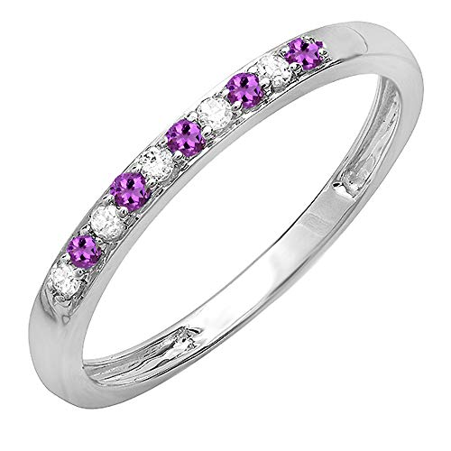 (Dazzlingrock Collection 10K Round Amethyst & White Diamond Ladies Wedding Band Ring, White Gold, Size 7)