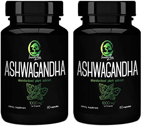 Inner Zen Ashwagandha Root Extract 1000mg 60 Capsules, 2 Pack, Reduce Stress, Lower Anxiety, Balance Immune System, Adrenal Support, Lower Cortisol, Includes Black Pepper Extract