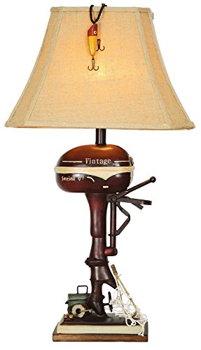 Vintage Direct CL3404 Boat Motor Table Lamp, Aged Walnut by Vintage Direct