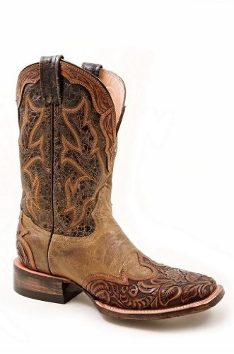 Stetson Women's Two-Tone Hand Tooled Wingtip Cowgirl Boot Square Toe Brown 10 M US - Tooled Wingtip