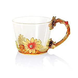 COAWG Glass Tea Cup, Lead Free Handmade Enamel Flower Clear Glass Coffee Mug with Handle, Unique Personalized Birthday Gift Ideas for Women Grandma Mom Female Friend Teachers -11oz/12oz, Blue Red Pink
