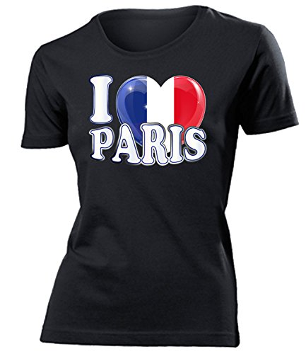 I LOVE PARIS mujer camiseta Tamaño S to XXL varios colores Negro