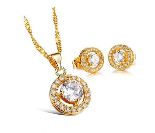 The New 18k Gold-plated Jewelry Wholesale Diamond Necklace + Earrings Bridal Gifts 625 (white)