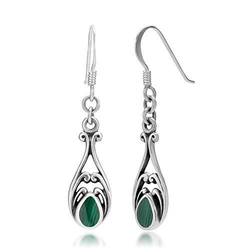 925 Sterling Silver Dangle Hook Earrings - Chuvora Jewelry - Green Gemstone Filigree