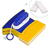 Magnetic Cleaner,Square Shape Double-Side Magnetic Useful Window Glass Cleaner Wiper with 2 Extra Cleaning Cotton for Bathroom Kitchen Bedroom