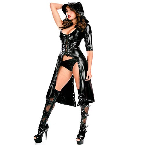 - SCYTSD Sexy Women Faux Leather Jumpsuit Cloak Slim fit Black Bright Patent Leather Trench Coat Cape Stretch Slim Fitted for Night Club Cosplay Costume.
