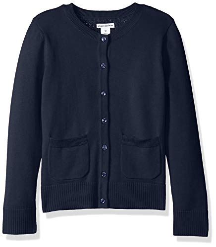 Amazon Essentials Little Girls' Uniform Cardigan Sweater, Navy Blazer, M