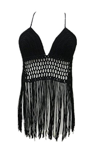 Fringe Bikini Halter Crop Top Handmade Crochet Swimsuit Summer Beachwear (Hippie Crochet)