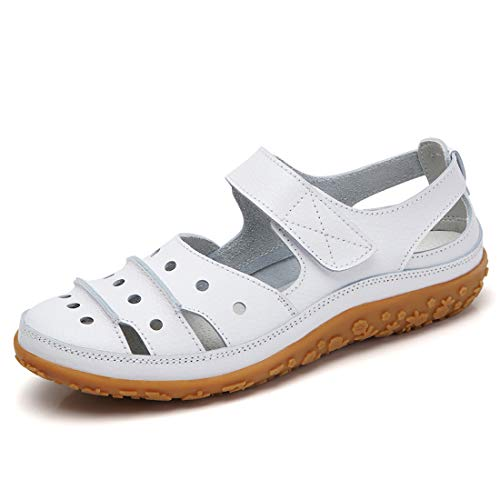 Z.SUO Women's Leather Sandals Flats Comfortable Casual Summer Walking Driving Shoes Fashion Wild Loafers Moccasins Outdoor Sandals(6.5 US,White.1) ()