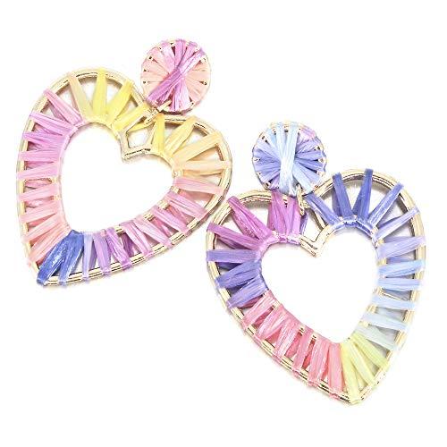 Drop Earrings Jewelry Heart (Rainbow Raffia Statement Earrings Heart Drop Earring Colorful Boho Dangle Geometric Earrings for Women Girl Gift Jewelry)