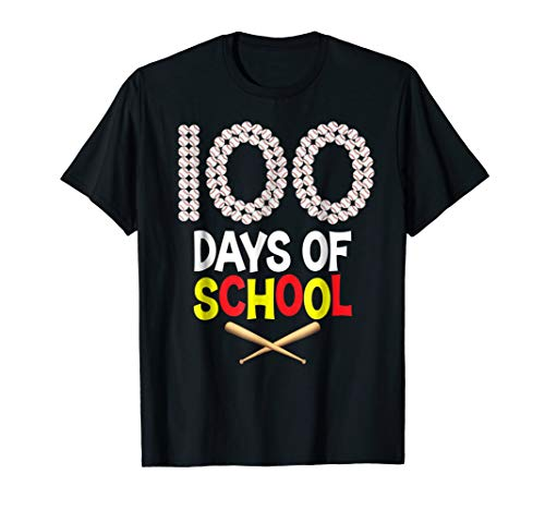 100 Days of School Baseball 100th Day T-Shirt Teacher and ()