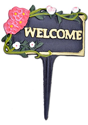 Import Wholesales Welcome Garden Plaque Sign Pink & White Flowers Black Cast Iron 7