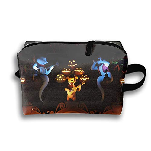 Personalized Make Up Bag Customize Halloween Ghosts Pumpkins Music Guitar Cosmetic ()