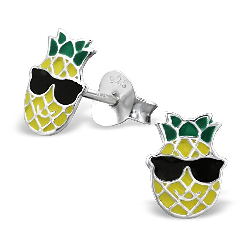 Sterling Silver Sunglasses - 925 Sterling Silver Pineapple wearing Sunglasses Stud Earrings 26297