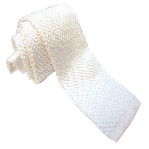 Plain Sendmart Slim Knitted Ties White square tip f8qOTnwC