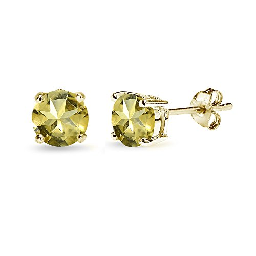 (Yellow Gold Flashed Sterling Silver Citrine 6mm Round-Cut Solitaire Stud Earrings)